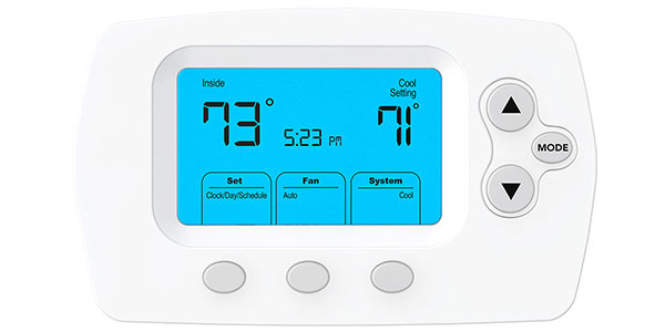 Heating and cooling thermostat reader with blue screen